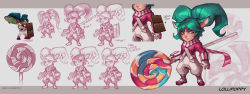 alternate_costume alternate_hair_length alternate_hairstyle animal_ears artist_name blue_hair buckler candy character_name chocolate_bar concept_art fang fingerless_gloves gloves highres kienan_lafferty league_of_legends lollipop overalls poppy red_eyes scarf shield sketch slit_pupils striped twintails
