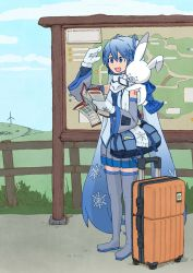 1girl bag blue_eyes blue_hair boots bunny cellphone da_(doodle_ageha) detached_sleeves duffel_bag gloves grey_legwear hat hatsune_miku headphones headset long_hair luggage map mittens necktie open_mouth phone pleated_skirt rolling_suitcase shoulder_bag skirt sleeveless smartphone smile snow_bunny snowflakes solo suitcase thigh_boots thighhighs twintails very_long_hair vocaloid yuki_miku yukine_(vocaloid)