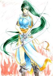 1girl boots dress fingerless_gloves fire_emblem fire_emblem:_rekka_no_ken green_eyes green_hair lyndis_(fire_emblem) ponytail scabbard sheath sword weapon