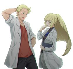 1boy 1girl arm_behind_back blonde_hair chromatic_aberration gem green_eyes hand_behind_head husband_and_wife labcoat long_hair long_sleeves lusamine_(pokemon) mohn open_labcoat open_mouth pokemon pokemon_(game) pokemon_sm red_shirt shirt short_hair simple_background sleeves_rolled_up sugarbeat white_background younger
