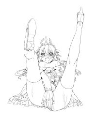 1girl blush breasts breasts_outside empoleon lineart looking_at_viewer medium_breasts monochrome nipples open_mouth personification pokemon solo spread_legs yonggi