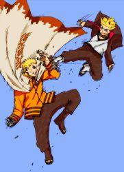 2boys blonde_hair blue_background blue_eyes facial_mark father_and_son fighting hokage kishimoto_masashi male multiple_boys naruto ninja official_art sandals uzumaki_boruto uzumaki_naruto whiskers