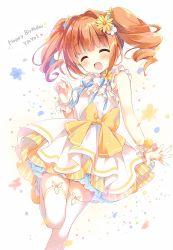 1girl ^_^ bangs blush bow brown_hair character_name commentary_request curly_hair dress eyes_closed flower hair_flower hair_ornament idolmaster mary_janes open_mouth petticoat shoes sidelocks smile solo suimya takatsuki_yayoi thighhighs twintails wrist_cuffs yellow_bow yellow_shoes