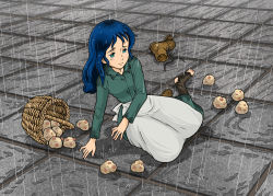 1girl arm_support basket blue_hair green_eyes lim long_hair nippon_animation on_ground potato princess_sarah rain sarah_crewe shoes_removed single_shoe torn_socks tripped world_masterpiece_theater
