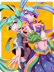 2girls :p absurdres ahoge azure_(capriccio) blue_eyes blue_hair breasts cleavage crossover green_hair hair_ornament hatsune_miku highres jewelry league_of_legends multiple_girls navel necklace necktie skirt smile sona_buvelle star_hair_ornament tattoo tongue tongue_out twintails vocaloid
