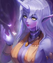 1girl armlet bare_shoulders breasts cleavage highres horn insect jewelry kaze_no_gyouja league_of_legends lips long_hair neck_ring necktie pendant pointy_ears purple_skin purple_skirt sideboob silver_hair skirt smile solo soraka upper_body wrist_cuffs