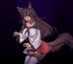 >:d 1girl :d animal_ears bamboo bamboo_forest breasts brooch brown_fur brown_hair capelet collarbone fingernails forest fur hater_(hatater) highres imaizumi_kagerou jewelry large_breasts long_fingernails long_hair long_sleeves looking_at_viewer nail_polish nature night night_sky open_mouth red_eyes red_nails red_skirt ribbon-trimmed_legwear ribbon_trim sharp_fingernails skirt sky smile solo star_(sky) starry_sky tail thighhighs touhou wide_sleeves wolf_ears wolf_tail