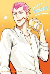 1boy blue_eyes drink drinking_straw gradient gradient_background holding jojo_no_kimyou_na_bouken male_focus open_mouth pink_hair solo sorbet upper_body widow's_peak zwk_(zawako)