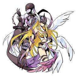 2girls angel angel_and_devil angewomon ass bare_shoulders blonde_hair blush bodysuit breasts curvy demon_girl digimon digimon_adventure grey_hair grey_skin helmet hetero huge_breasts ladydevimon long_hair multiple_girls red_eyes smile torn_clothes wing winged_helmet wings