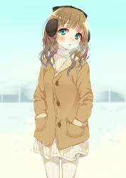 1girl aqua_eyes breath brown_hair cowboy_shot earmuffs female hands_in_pockets hym9594 long_hair looking_at_viewer original ribbed_sweater snow solo sweater turtleneck white_legwear winter_clothes winter_coat