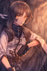 1girl black_gloves bow brown_eyes brown_hair facial_mark gloves hair_bow knee_up knife long_hair looking_at_viewer mightyena moe_(hamhamham) personification pokemon sheath sheathed sitting solo wide_sleeves