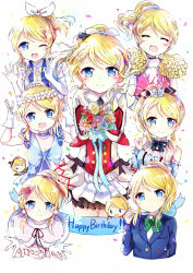 1girl ayase_eli blonde_hair blue_eyes hair_ornament hairclip happy_birthday highres long_hair looking_at_viewer love_live!_school_idol_project meyukichi open_mouth ponytail school_uniform smile