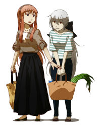 2girls absurdres ahoge bag bangs black_skirt blouse blue_eyes blush bracelet breasts casual denim earrings full_body grey_hair groceries hair_between_eyes hairband headphones highres jeans jewelry long_hair long_skirt looking_at_another megurine_luka multiple_girls open_mouth pants pink_hair ponytail red_eyes shirt shoes shopping_bag side-by-side sidelocks silver_hair simple_background skirt sleeves_folded_up standing striped striped_shirt v_arms very_long_hair vocaloid voyakiloid white_background yowane_haku yui_(artist)