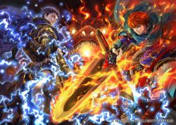 2boys arm_guards armor axe battle_axe blue_hair cape company_connection copyright_name dragon electricity eliwood_(fire_emblem) fingerless_gloves fire fire_emblem fire_emblem:_rekka_no_ken fire_emblem_cipher gauntlets gloves hector_(fire_emblem) holding holding_weapon horseback_riding huge_weapon looking_at_viewer looking_back multiple_boys official_art red_hair riding short_hair smile suzuki_rika sword weapon