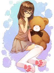 1girl brown_eyes brown_hair feet glasses original sitting skirt solo stuffed_animal stuffed_toy t-shirt teddy_bear thighhighs tsubasa_tsubasa white_legwear zettai_ryouiki