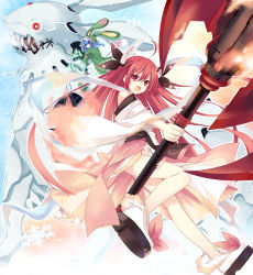 2girls ahoge animal_hood axe blue_eyes blue_hair blush date_a_live fire highres holding_weapon hood horn_ribbon horns itsuka_kotori long_hair monster multiple_girls official_art open_mouth red_eyes red_hair ribbon sharp_teeth snowflakes tsunako very_long_hair weapon yoshino_(date_a_live) zadkiel_(date_a_live)