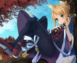 1girl 7th_dragon 7th_dragon_(series) animal_ears autumn autumn_leaves bell between_breasts between_thighs blonde_hair blue_sky blush bodysuit bow breast_press breasts cloud fox_ears frown green_eyes hair_ornament hair_stick highres holding_sword holding_weapon in_tree jingle_bell kasasuge katana red_bow red_ribbon red_shoes ribbon samurai_(7th_dragon) shoes sitting sitting_in_tree skin_tight sky solo sword tree weapon white_ribbon