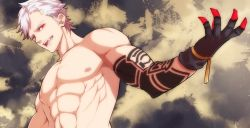 1boy abs arm_tattoo eve_(nier_automata) from_below gloves kurokoge_(on-offswitch) looking_at_viewer male_focus muscle nier nier_automata nipples open_mouth red_eyes shirtless short_hair solo solo_focus spiked_hair tattoo white_hair