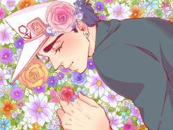 1boy eyes_closed famichiki3 flower hat jojo_no_kimyou_na_bouken kuujou_joutarou solo turtleneck