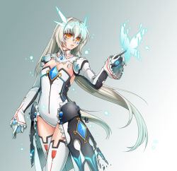 1girl code:_battle_seraph_(elsword) detached_collar elsword eve_(elsword) gloves gradient gradient_background grey_background hair_intakes leotard long_hair no_pupils rewolf solo thighhighs white_background white_hair white_legwear yellow_eyes