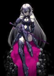 1girl armor artist_name bare_shoulders black_background blonde_hair breasts chains fame_peera fate/grand_order fate_(series) headpiece highres jeanne_alter long_hair looking_at_viewer ruler_(fate/apocrypha) ruler_(fate/grand_order) skull smile solo sword thighhighs weapon yellow_eyes