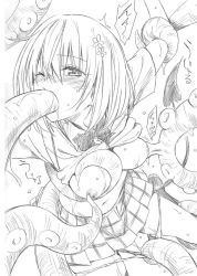 1girl bdsm blush breast_grab breast_sucking breasts demon_tail fellatio hair_ornament highres momo_velia_deviluke monochrome navel nipple_tweak nippleplay nipples official_art open_mouth oral panties panty_pull pussy_juice rape restrained school_uniform shirt shirt_lift short_hair sketch skirt solo sweater_vest tail tentacle to_love-ru underwear wince yabuki_kentarou