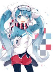 1girl :d animal_hat blue_eyes blue_hair cat_hat coat gloves goggles goggles_on_head hand_on_goggles hat hatsune_miku legwear_under_shorts long_hair open_mouth pantyhose pom_pom_(clothes) scarf sentaro207 shorts ski_gear smile solo striped striped_legwear twintails vertical-striped_legwear vertical_stripes very_long_hair vocaloid white_gloves yuki_miku