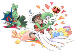... 1boy 1girl anger_vein angry bano_akira bdsm blush bondage brown_hair candy gardevoir green_hair hat heart jealous open_mouth outstretched_leg pillow pokemon pokemon_(game) pokemon_oras red_eyes ribbon ribbon_bondage sceptile sharpedo short_hair short_sleeves shorts spoken_heart sweatdrop yuuki_(pokemon) yuuki_(pokemon)_(remake)