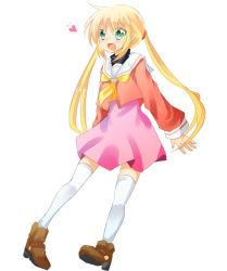 1girl blonde_hair green_eyes hayate_no_gotoku! heart long_hair sanzen'in_nagi solo thighhighs twintails white_legwear