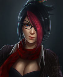 1girl black_hair blue_eyes breasts cleavage clockwork-cadaver eyebrows fiora_laurent folded_ponytail glasses hair_ornament hair_over_one_eye hair_stick highlights large_breasts league_of_legends lips multicolored_hair nose pencil red_hair scarf short_hair solo teacher two-tone_hair