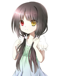 1girl artist_request black_hair child clock_eyes date_a_live highres long_hair looking_at_viewer red_eyes simple_background solo standing tokisaki_kurumi white_background younger