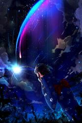 1girl black_hair cloud comet diffraction_spikes highres japanese_clothes kimi_no_na_wa kimono lens_flare miyamizu_mitsuha night night_sky onew scenery short_hair sky solo spoilers star_(sky) starry_sky tree yukata