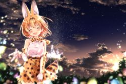 1girl ^_^ absurdres animal_ears bangs blonde_hair blouse blurry blush breasts cloud cloudy_sky depth_of_field elbow_gloves evening eyebrows_visible_through_hair eyes_closed facing_viewer floating_hair gloves hair_between_eyes high-waist_skirt highres kemono_friends medium_breasts night night_sky open_mouth outdoors outstretched_hand serval_(kemono_friends) serval_ears serval_print serval_tail short_hair skirt sky sleeveless smile solo tail thighhighs uneune white_blouse white_gloves