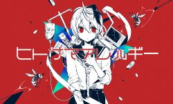 1girl cowboy_shot flower_(vocaloid) flower_(vocaloid4) hand_on_own_chest highres hitosama_allergy_(vocaloid) intravenous_drip multicolored_hair noose nou official_art people_allergy pill red_background red_eyes rope school_uniform short_hair simple_background solo song_name streaked_hair vocaloid