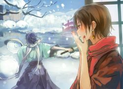 2boys bare_tree bridge brown_hair decapitation earrings from_behind hakama japanese_clothes jewelry kashuu_kiyomitsu katana kimono male_focus mole mole_under_mouth multiple_boys nail_polish nuriko-kun purple_hair red_eyes red_nails red_scarf scarf sky snow snowing snowman sword touken_ranbu tree upper_body weapon white_scarf winter yamato-no-kami_yasusada