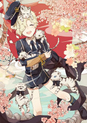 1boy ^_^ blonde_hair bow cherry_blossoms eyes_closed gokotai gokotai's_tigers hair_over_one_eye hat male_focus military military_uniform necktie open_mouth rope shimenawa shorts smile sword tantou tiger tiger_cub touken_ranbu uniform weapon white_tiger xi_yuu