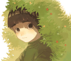 bangs black_eyes black_hair blunt_bangs blush bush closed_mouth eyebrows flower from_side green looking_at_viewer male_focus morioskn naruto plant rock_lee shade thick_eyebrows upper_body wavy_mouth white_background