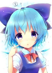 1girl blue_dress blue_eyes blue_hair bow cirno dress hair_bow highres ice ice_wings short_hair solo touhou uta_(kuroneko) wings