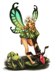 1girl blonde_hair bodysuit bow_(weapon) braid butterfly_wings crossbow crystal fairy flower frog hair_flower hair_ornament head_wreath highres ingway_(odin_sphere) leg_lift long_hair mercedes minigirl odin_sphere open_mouth red_eyes running shoes short_shorts shorts takemiya_09 tied_hair twin_braids twintails weapon wings