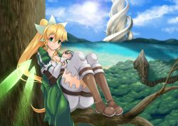 1girl blonde_hair blush boots braid breasts cleavage fairy_wings female forest green_eyes hair_ornament large_breasts leafa long_hair ono_kono_to ponytail shiny shorts smile solo sword_art_online tree twin_braids very_long_hair