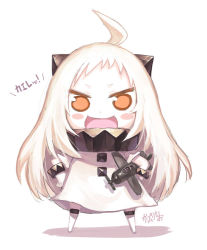 >:d 1girl :d ahoge airplane blush_stickers brown_eyes chibi dress hibanar holding horns kantai_collection long_hair looking_at_viewer mittens northern_ocean_hime open_mouth shinkaisei-kan sketch smile solo white_dress white_hair white_skin