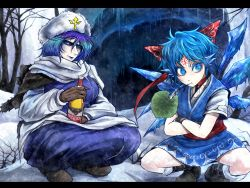 2girls alcohol blue_eyes blue_hair boots bottle bow cave cirno commentary_request dress forehead_tattoo gloves hair_bow hat ice ice_wings letty_whiterock lily_pad multicolored_hair multiple_girls purple_hair russian ryuuichi_(f_dragon) scarf short_hair short_sleeves skirt snow snowflakes sparkle squatting symbol-shaped_pupils tattoo touhou tree vodka wings winter