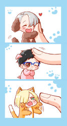 3boys ;> ^_^ animal_costume animal_ears black_hair blonde_hair blue-framed_eyewear brown_eyes cat_costume cat_ears cat_tail chibi dog_costume dog_ears extra_ears eyes_closed fingers glasses green_eyes hair_over_one_eye heart katsuki_yuuri male_focus miniboy monotsuki multiple_boys one_eye_closed open_mouth out_of_frame paw_print petting pig_costume pig_ears silver_hair smile solo_focus sweat tail viktor_nikiforov yuri!!!_on_ice yuri_plisetsky
