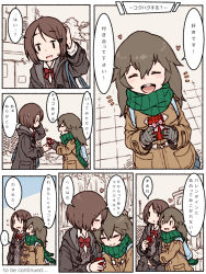... 2girls bag blush bow box brown_hair coat comic english eyes_closed flying_sweatdrops gift gift_box gloves green_scarf grey_gloves heart long_hair m_k multiple_girls original pink_bow pink_ribbon ribbon scarf short_hair smile spoken_ellipsis striped striped_gloves sweat to_be_continued translation_request yuri