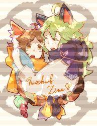 2boys brown_hair cat_ears green_hair long_hair male_focus multiple_boys n_(pokemon) pokemon short_hair tagme touya_(pokemon) yaoi