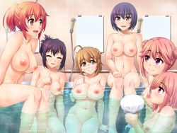 6+girls ahoge areolae bath blush breasts brown_eyes brown_hair double_bun eyebrows_visible_through_hair eyes_closed folded_ponytail game_cg glasses hair_up hinamori_anzu hinamori_ichigo large_breasts looking_at_another medium_breasts mibu_saori multiple_girls nipples nude open_mouth partially_submerged pink_eyes pink_hair ponytail public_bath purple_eyes purple_hair red_hair refraction sasakura_yayoi shower_head sitting smile steam takanashi_fuuka unagimaru volley_coaching! water wet yaotome_misuzu