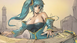 1girl aqua_hair bare_shoulders blue_eyes breasts cleavage large_breasts league_of_legends sketch sky_of_morika smile solo sona_buvelle twintails
