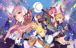 2boys 4girls :d ;d ahoge anais_del_caril banner basket belt black_gloves blonde_hair blue_bow blue_eyes bow braid bunny castle character_request confetti cravat finger_to_cheek fireworks flag gloves green_eyes hair_bow hat highres long_hair looking_at_viewer lucian_kaltz mila_nebraska multiple_boys multiple_girls night night_sky one_eye_closed open_mouth orange_hair outdoors pink_hair purple_eyes red_bow sang_ah_yoon scroll short_hair skull_necklace sky smile string_of_flags tales_weaver tichiel_juspian wide_sleeves