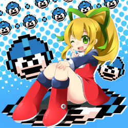 1girl ass blonde_hair blush boots dress full_body green_eyes hair_ribbon long_hair momosemocha open_mouth ponytail red_skirt ribbon rockman rockman_(classic) roll skirt smile solo upskirt