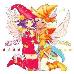 2girls apple_magician_girl bare_shoulders breasts cleavage detached_sleeves duel_monster full_body hair_between_eyes hat lemon_magician_girl long_hair looking_at_viewer multiple_girls nns146 open_mouth simple_background smile thighhighs white_background wizard_hat yu-gi-oh! yuu-gi-ou_duel_monsters